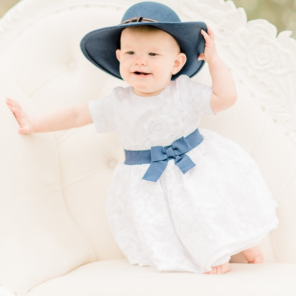 Carter's Other - Carters white Dress Navy Bow 12 month